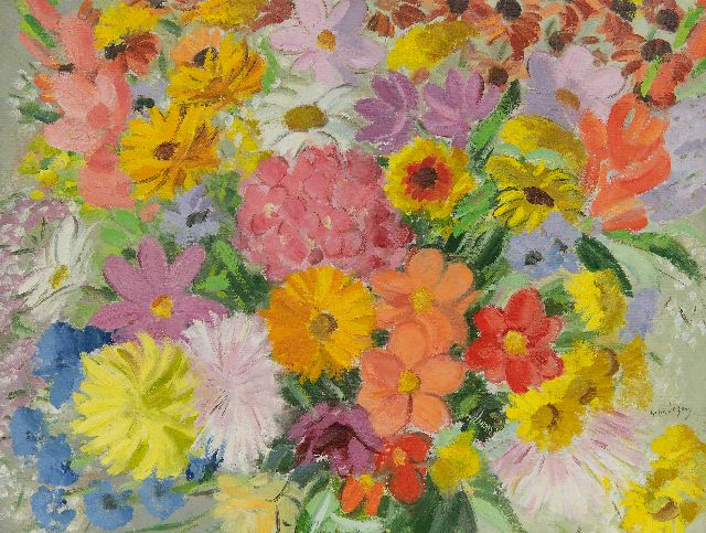 Germ de Jong | Summer flowers, oil on canvas, 47.3 x 62.4 cm, signed l.r.