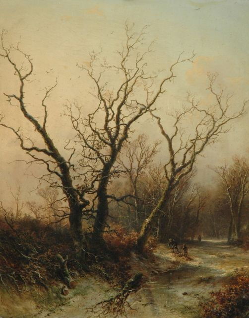 Pieter Kluyver | A winter landscape with wood gatherers, oil on panel, 54.2 x 43.0 cm, signed l.l. and dated '68