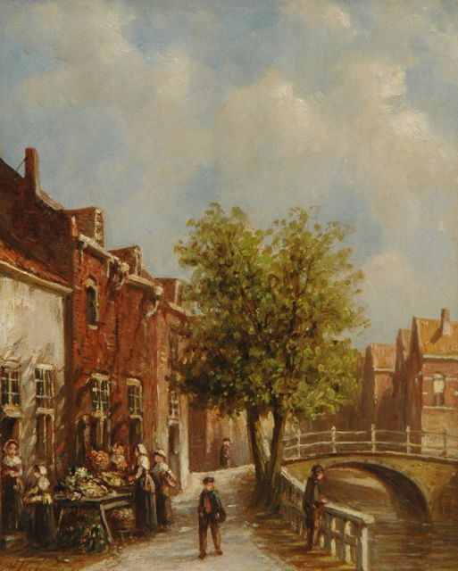 Petrus Gerardus Vertin | Dutch street, oil on panel, 22.0 x 17.7 cm, signed l.l.