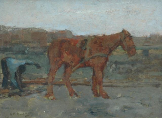 George Hendrik Breitner | Horse with towing line, oil on panel, 14.0 x 18.3 cm, signed l.l.