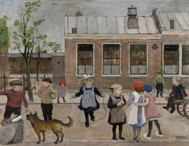 Harm Kamerlingh Onnes | The village school, Oegstgeest, oil on panel, 48.1 x 61.0 cm, signed l.l. with monogram and dated '30