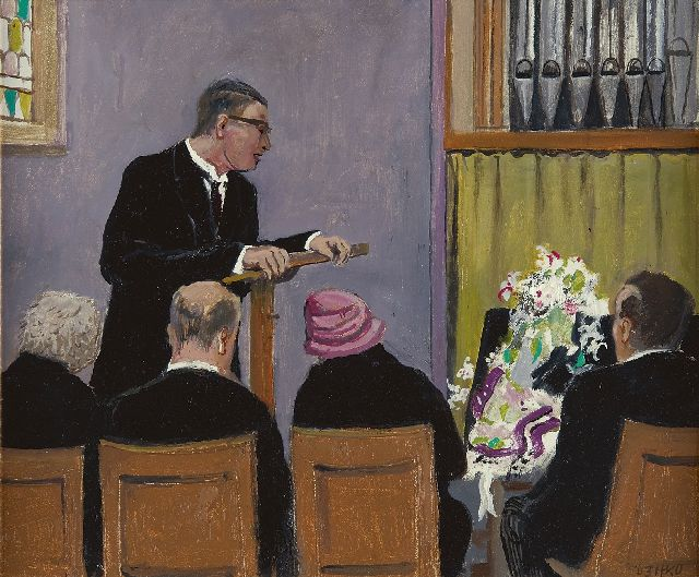 Harm Kamerlingh Onnes | The memorial service, oil on board, 34.1 x 40.8 cm, signed l.r. with monogram and dated '63