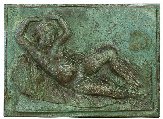 Pieter Starreveld | Reclining nude, bronze, 35.2 x 48.8 cm, signed  l.l. with monogram
