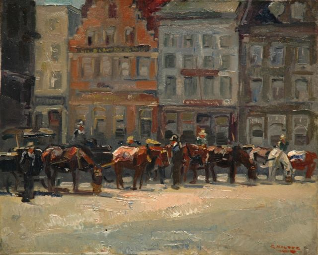Cor Noltee | Waiting carriages on the Scheffersplein, Dordrecht, oil on canvas, 40.5 x 50.4 cm, signed l.r.