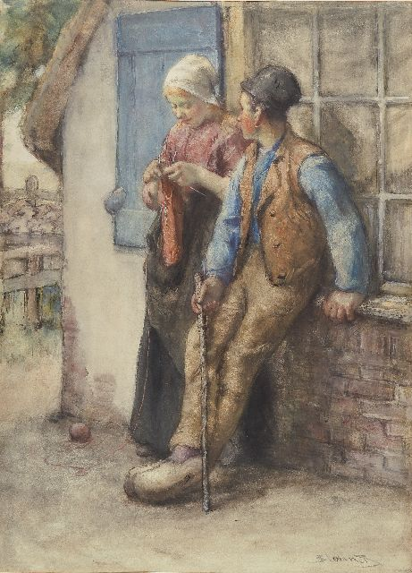 Bernard Blommers | The private chat, watercolour on paper, 71.0 x 51.0 cm, signed l.r.