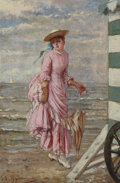 Albert Roosenboom | On the beach, oil on canvas, 36.3 x 24.2 cm, signed l.l. and dated on the reverse 1888