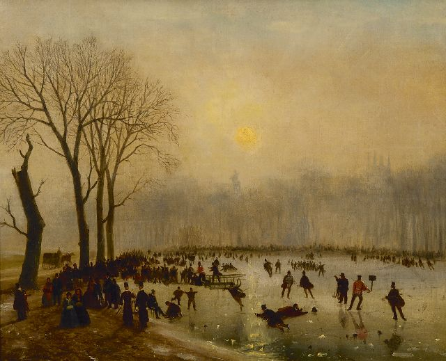 Nicolaas Johannes Roosenboom | Skating fun on The Serpentine, Hyde Park, oil on canvas, 43.3 x 53.7 cm, signed l.l. and dated 'London' '55