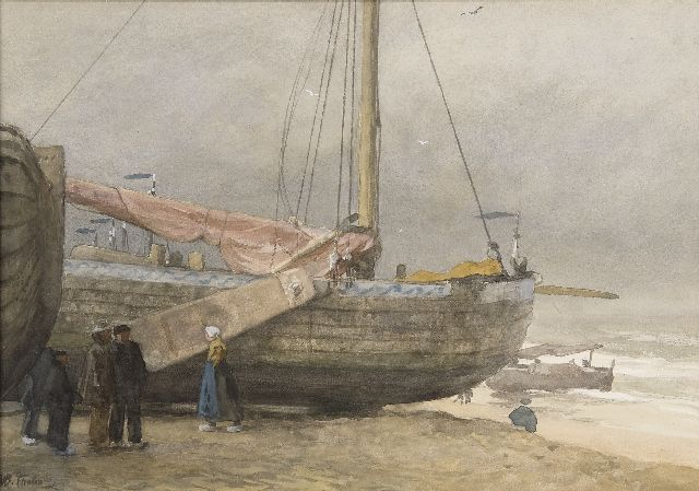 Willem Bastiaan Tholen | Fisherfolk and boats on the Scheveningen beach, watercolour on paper, 37.4 x 53.4 cm, signed l.l.