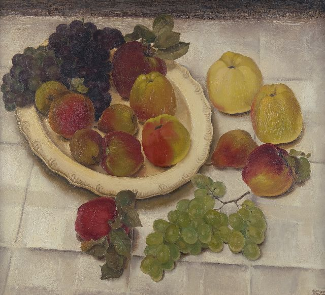 Meurs H.H.  | A still life with grapes and apples, oil on canvas 65.1 x 73.2 cm, signed l.r. and on the reverse and dated 1932
