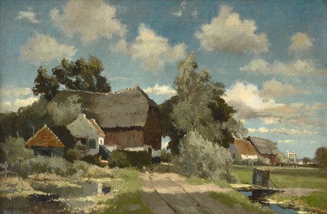 Driesten A.J. van | A farm in a polder landscape, oil on canvas 40.5 x 61.5 cm, signed l.l.