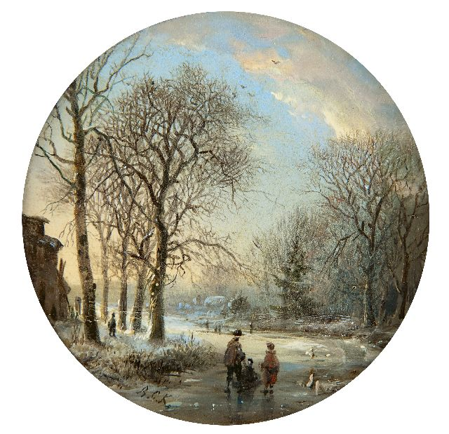 Barend Cornelis Koekkoek | A winter landscape with skaters at sunset, oil on copper, 7.0 x 7.0 cm, signed l.l. with initials and painted ca. 1827-1830