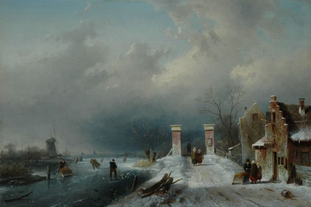 Charles Leickert | A frozen river with skaters Warmond, oil on panel, 32.0 x 47.2 cm, signed l.l. and on sign and dated 1861