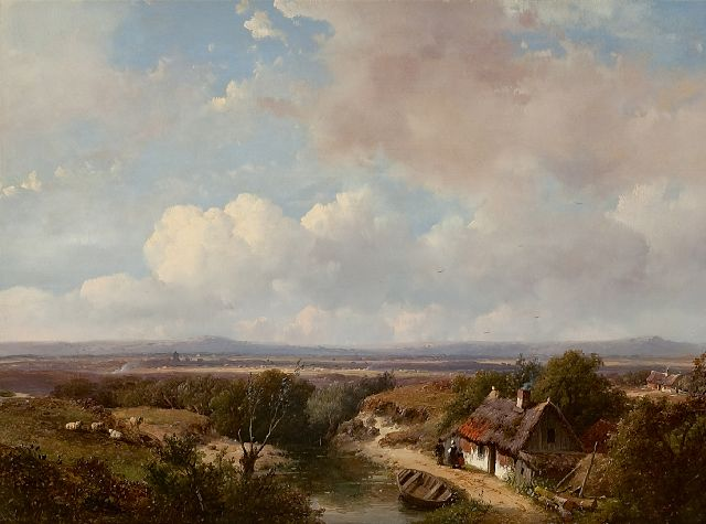 Andreas Schelfhout | A panoramic view of a summer landscape, oil on panel, 28.1 x 39.0 cm, signed l.l. and dated '50