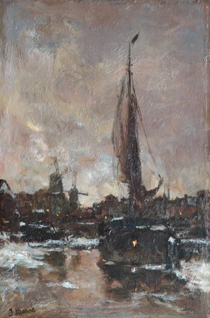 Jacob Maris | A winter evening in Schiedam, oil on panel, 35.9 x 23.6 cm, signed l.l.