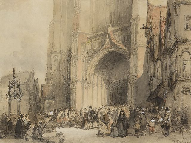 Johannes Bosboom | The cathedral of Antwerpen after service, ink, chalk and watercolour on paper, 30.7 x 40.7 cm, signed l.r.