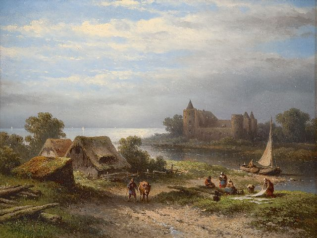 Johannes Hilverdink | View on the river Vecht and the Muiderslot, oil on canvas laid down on panel, 36.8 x 47.2 cm, signed l.r. and dated 1863