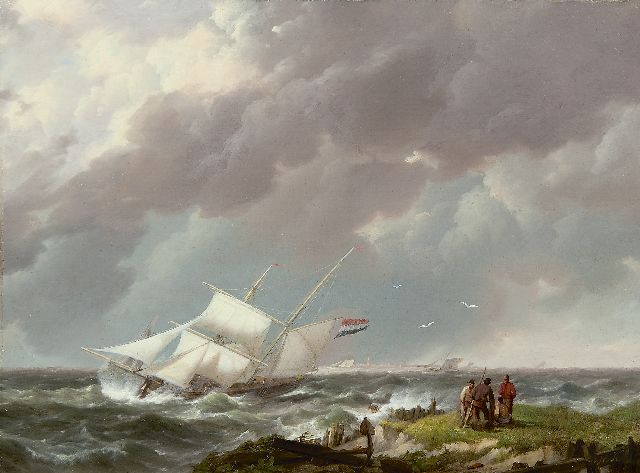 Hermanus Koekkoek | A barquentine in a storm off the coast, oil on panel, 21.9 x 29.5 cm, signed l.r. with initials