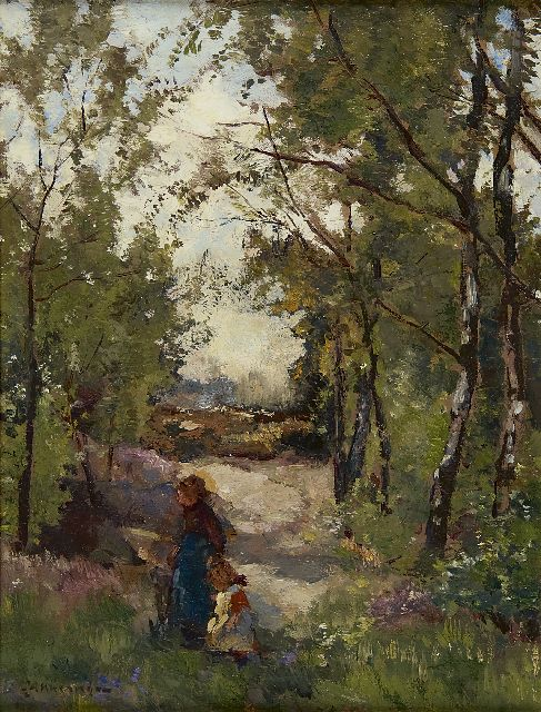 Johannes Evert Hendrik Akkeringa | At mothers hand through the forest, oil on canvas, 33.3 x 24.6 cm, signed l.l.