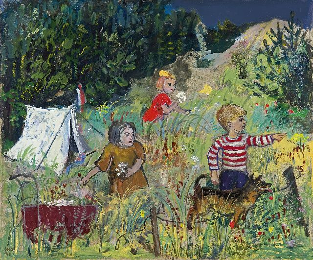 Harm Kamerlingh Onnes | Camping in the dunes, oil on eternite, 33.0 x 40.1 cm, signed l.l. with monogram and dated '43
