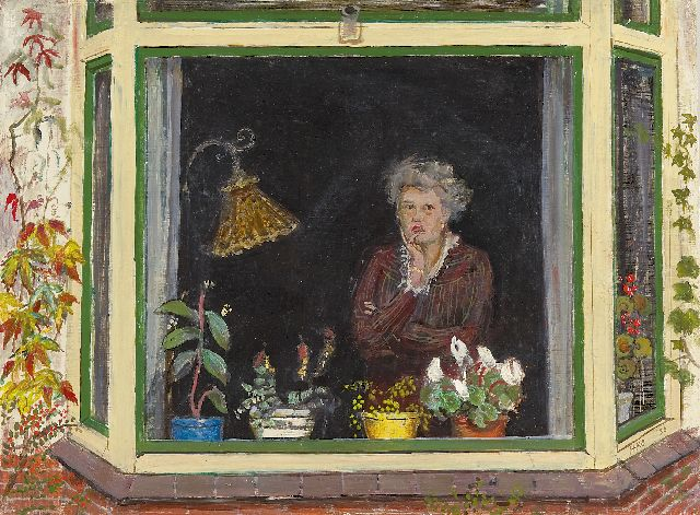 Harm Kamerlingh Onnes | A woman in an bay window, oil on board, 30.2 x 40.0 cm, signed l.r. with monogram and dated '50