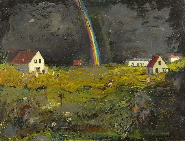 Kamerlingh Onnes H.H.  | A rainbow on the island Terschelling, oil on board 30.5 x 40.2 cm, signed l.m. with monogram and dated '62