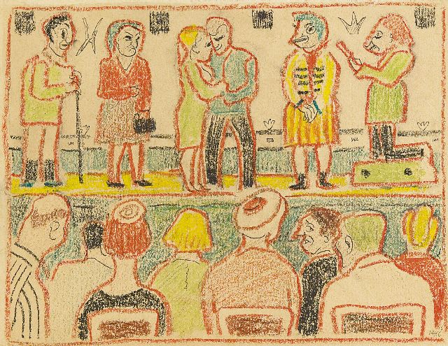 Harm Kamerlingh Onnes | The theater performance, chalk on paper, 23.6 x 30.6 cm, signed l.r. with mon. and executed '66