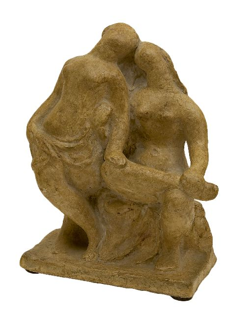 Charlotte van Pallandt | The girlfriends, plaster with a patina, 22.1 x 18.0 cm, signed on the backside of the base and executed 1941