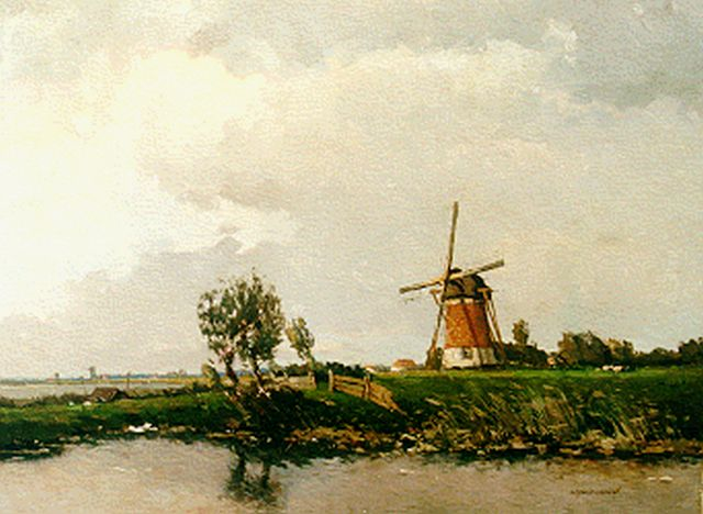Gerard Delfgaauw | Landscape with windmill (possibly Haasdrecht), oil on canvas, 60.4 x 79.7 cm, signed l.r.