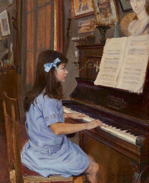 Bellanger A.  | Studying at the piano, oil on panel 40.9 x 32.6 cm, signed l.r. and dated 1915