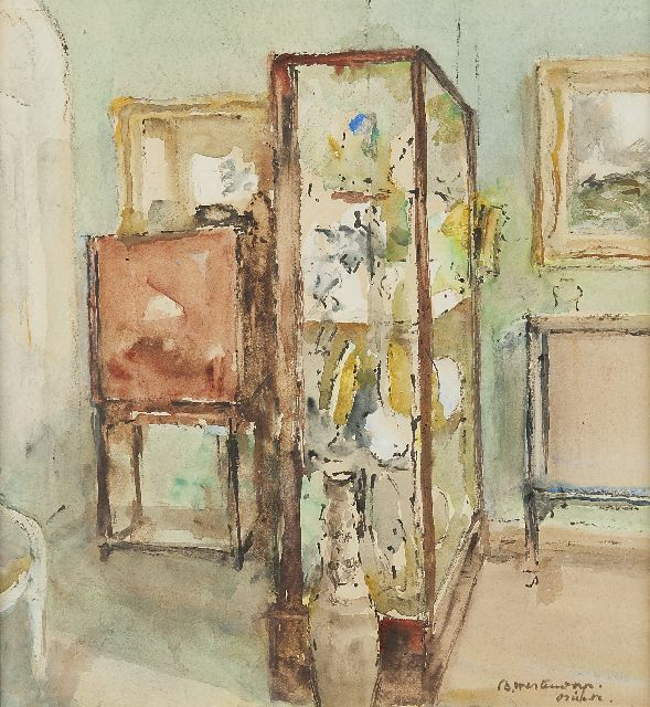 Westendorp-Osieck J.E.  | Interior with a showcase, watercolour on paper 32.0 x 30.0 cm, signed l.r.
