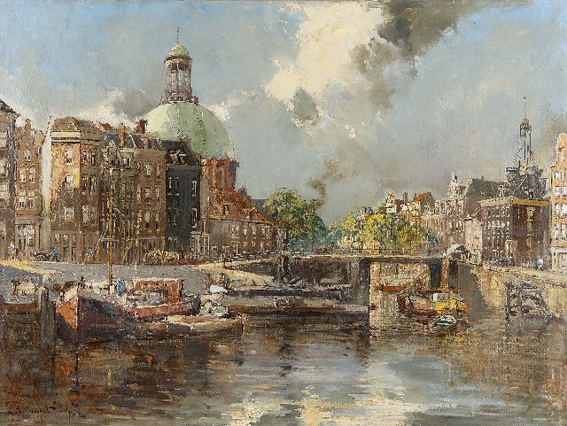 Jan Hermanus Melcher Tilmes | View on the Singel, Amsterdam, with the Ronde Lutherse Kerk, oil on canvas, 60.2 x 80.3 cm, signed l.l.