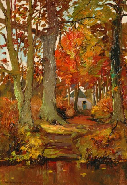 Xeno Münninghoff | Autumn at Renkum, oil on canvas laid down on panel, 55.3 x 38.3 cm, signed l.l.