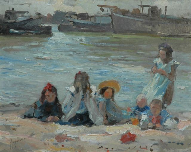 August van Voorden | Playing children alongside the canal, oil on panel, 27.2 x 34.2 cm, signed l.l.