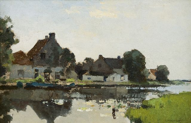 Cornelis Vreedenburgh | Farm houses along the canal, oil on panel, 24.0 x 37.5 cm, signed l.r.