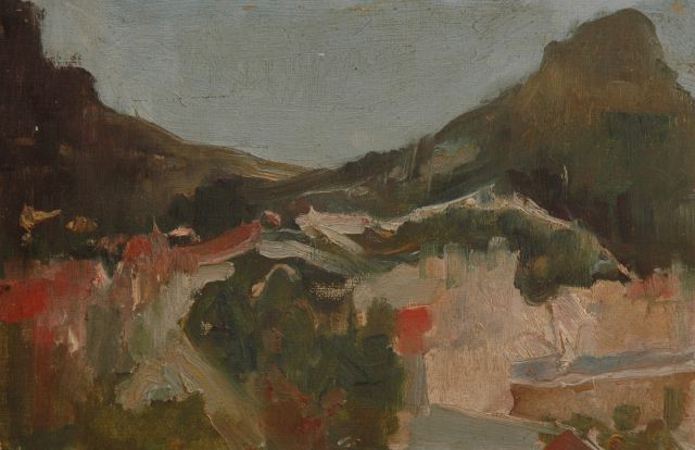 Eduard Frankfort | A mountain landscape, oil on board, 20.5 x 30.5 cm