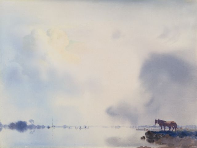 Jan Voerman sr. | A view of the river IJssel near Hattem, oil on panel, 34.9 x 47.0 cm, signed l.r.