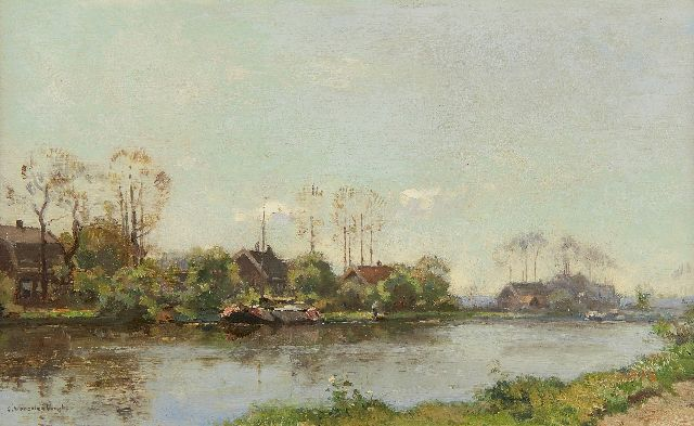Cornelis Vreedenburgh | Moored ship on a Dutch waterway, oil on panel, 21.3 x 34.9 cm, signed l.l.