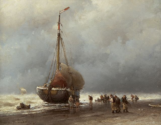 Eickelberg W.H.  | Bringing in the catch in a storm, oil on panel 26.8 x 35.0 cm, signed l.l.