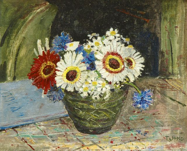 Harm Kamerlingh Onnes | Flowerpiece by Titia, oil on canvas laid down on panel, 26.3 x 31.5 cm, signed l.r. 'T&HKO (Titia and Harm Kamerlingh Onnes)