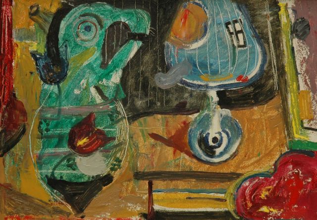 Harm Kamerlingh Onnes | Fantasy figures, oil on board, 27.5 x 38.4 cm, signed u.r. with monogram and dated '61