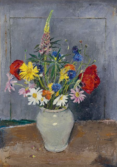 Harm Kamerlingh Onnes | Summer flowers in a grey vase, oil on canvas laid down on board, 44.0 x 32.0 cm, signed l.l. with monogram and dated '43