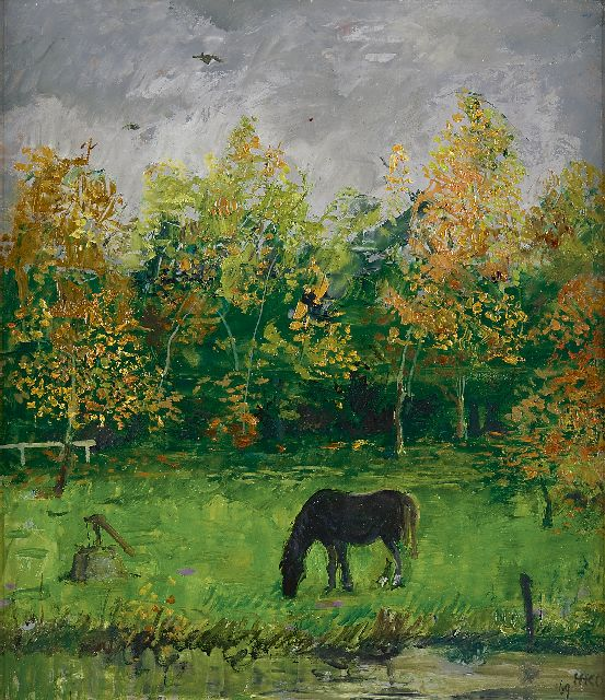 Harm Kamerlingh Onnes | A grazing black horse, oil on board, 36.8 x 32.4 cm, signed l.r. with monogram and dated '69