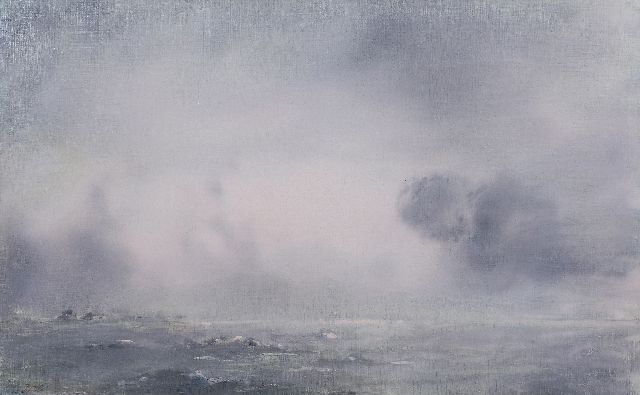 Jan Voerman sr. | Rising rain shower over the river IJssel, oil on canvas, 38.5 x 61.4 cm, signed l.l. with initials