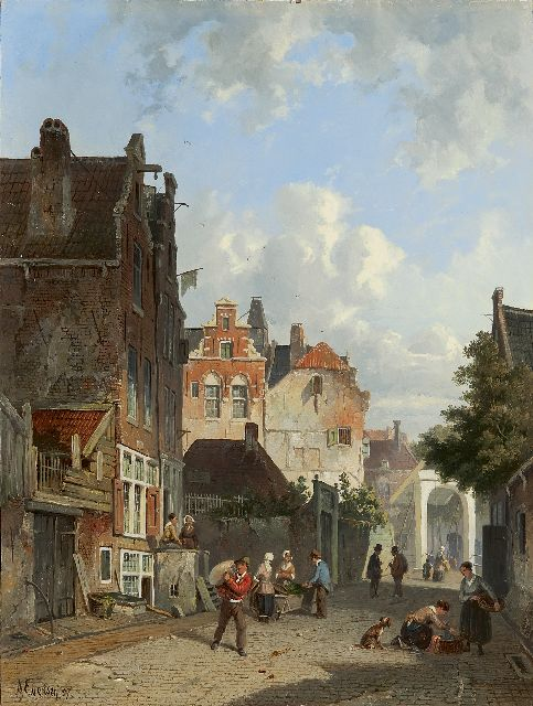Adrianus Eversen | A Dutch street scene, oil on panel, 33.5 x 25.1 cm, signed l.l. and dated '57