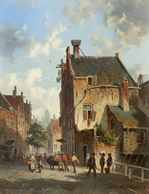 Adrianus Eversen | A Dutch street scene, oil on panel, 33.5 x 25.5 cm, signed l.r. and dated '57