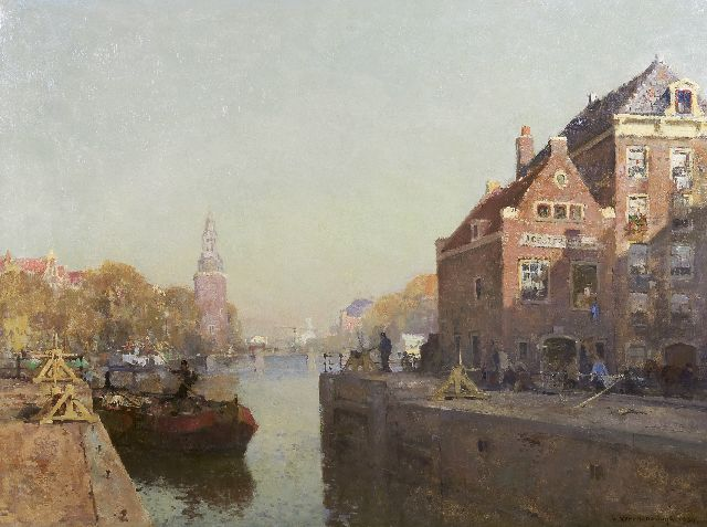 Cornelis Vreedenburgh | The St. Antonie locks, Amsterdam, oil on canvas, 90.5 x 120.6 cm, signed l.r. and dated 1920