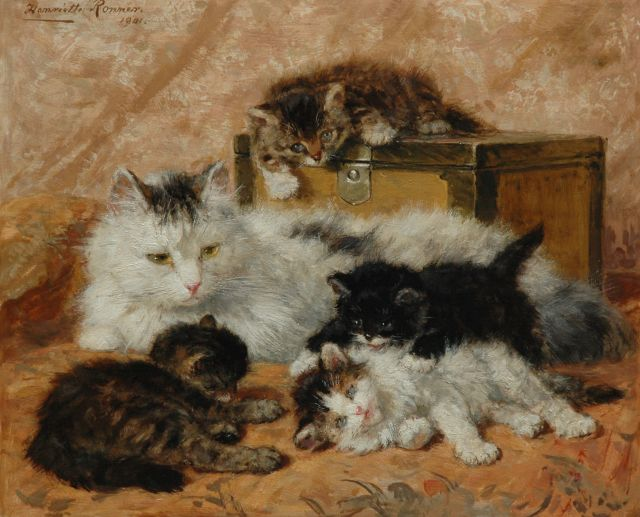 Henriette Ronner-Knip | The happy mother, oil on panel, 37.5 x 46.0 cm, signed u.l. and dated 1901