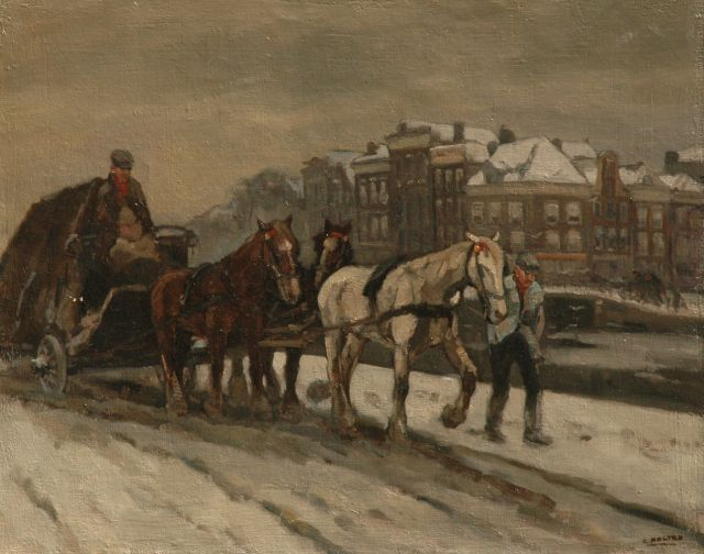 Cor Noltee | A horse-drawn cart in the snow in Amsterdam, oil on canvas, 80.8 x 101.0 cm, signed l.r.