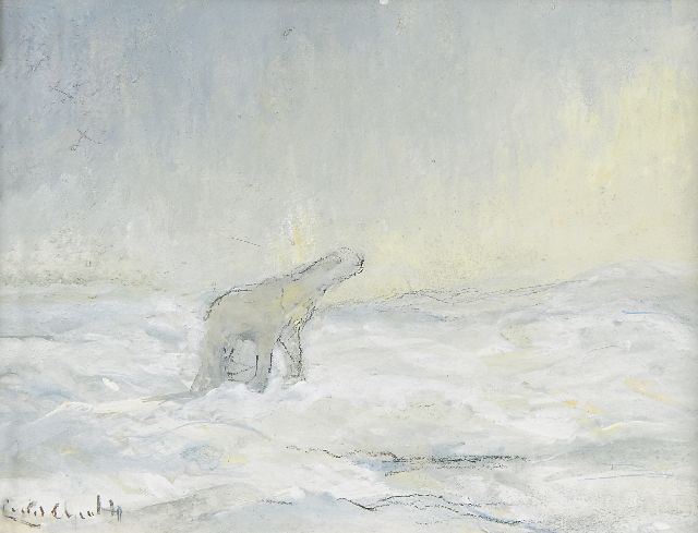 Louis Apol | A polar bear on the North Pole, gouache on paper, 10.9 x 14.3 cm, signed l.l. and executed in 1935-1936