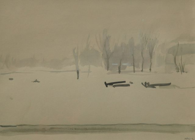 Harm Kamerlingh Onnes | Winter in a public garden, watercolour on paper, 22.2 x 29.9 cm, signed l.r. with monogram and dated '70